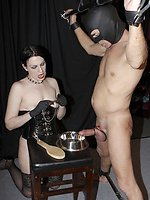 Mistress Danielle whipped tosha with a heavy red whip as he knelt,...