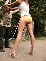 Goddess Nicky humiliates her slave at football gate and by his car